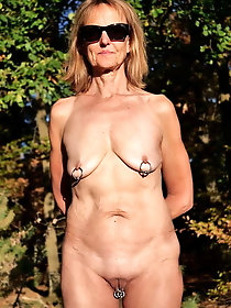 European older bitches are posing outdoors